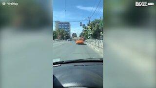 Pedestrian walks over car in crosswalk