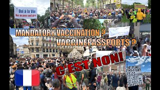 France - Compilation Demonstrations Vaccine Passports [14 JULY 2021]