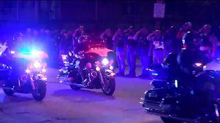 Police procession runs through downtown Milwaukee