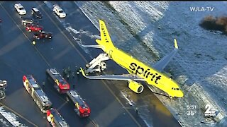Arriving Spirit Airlines flight slides off into grass while taxiing to BWI terminal
