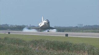 Space Shuttle Atlantis landing on Earth for the last time.