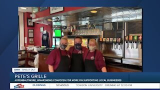 """Pete's Grille in Baltimore says """"We're Open Baltimore!"""""""