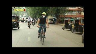 Ranbir Kapoor Spotted Cycling Around In Juhu | SpotboyE