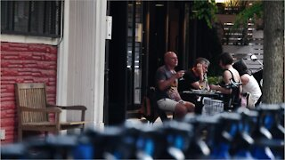 New Yorkers seen dining one year after lockdown