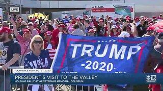 Crowds gathered ahead of President Trump's Phoenix rally