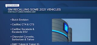 General Motors recalling several vehicles due to malfunctioning light