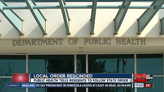 Local order rescinded, public health tells residents to follow state order