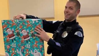 Emotional Christmas present for grieving cop