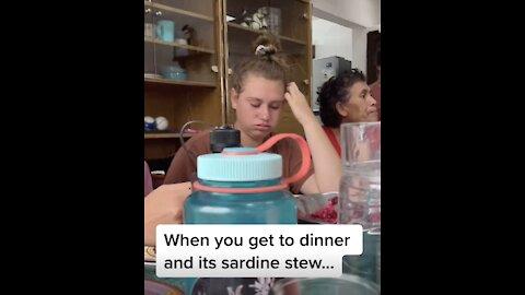 Girl Makes Hilarious Face After Eating Sardine Stew!