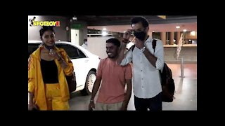 Yuzvendra Chahal with Wife Spotted at the Airport | SpotboyE
