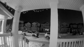 Security camera captures insanely close falling meteor