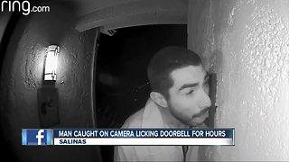 Caught on camera: Man licks doorbell for hours