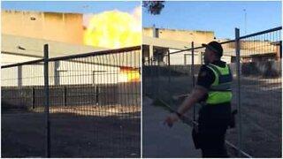 Explosão de gás dramática num centro comercial em Melbourne