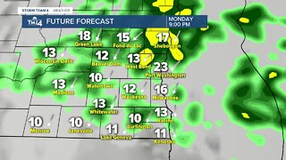Breezy with showers Monday afternoon