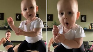 Dancing baby steals mom's thunder during her workout