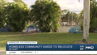 Homeless community asked to relocate