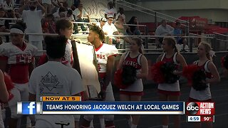 Football teams honoring Northeast High School player Jacquez Welch