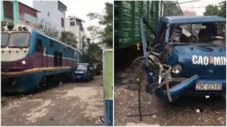 Truck destroyed by moving train