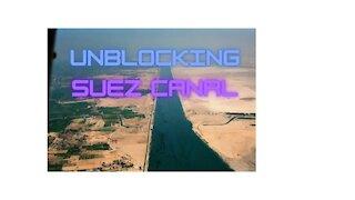 Unblocking Suez Canal. Evergreen Vessel Refloated