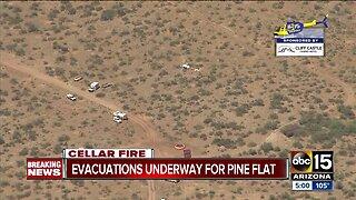 Cellar Fire forces evacuations near Pine Flat