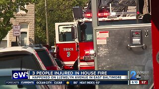 Three people injured in East Baltimore house fire