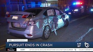 Pursuit ends in crash in Barrio Logan