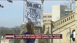 Facebook removing posts promoting protest against stay-at-home order planned for Lansing