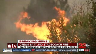 Stagecoach Fire: Blaze burning in Havilah covers 2,500 acres