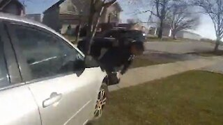 Porch pirate accomplice hits officer with a vehicle during get-away