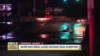 Water main break closes Rockside Road in Bedford