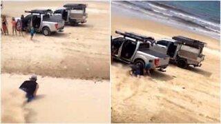Sand sledding gone wrong