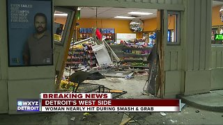 Truck slams into gas station on Detroit's west side