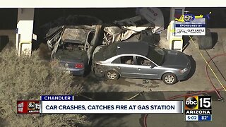 Car crashes, catches fire at gas station in Chandler