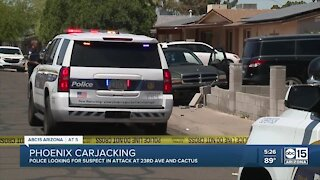 Suspect sought after allegedly carjacking teen at Phoenix school