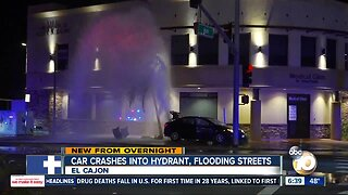 Collision at El Cajon intersection sends car into fire hydrant, causes geyser