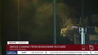Smoke seen coming from USS Bonhomme Richard