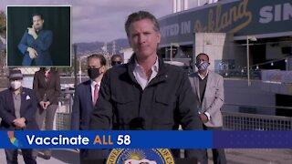 California Governor Gavin Newsom addresses the reopening of schools, sports