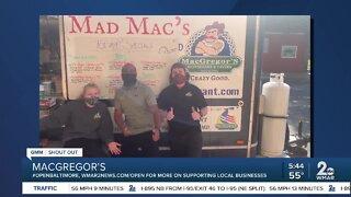 """MacGregor's says """"We're Open Baltimore!"""""""
