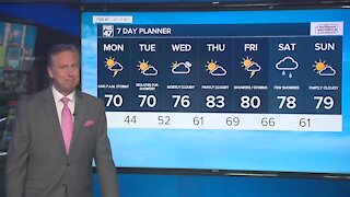 Forecast: Mostly cloudy, breezy, and cooler. Gradually less humid and highs in the upper 60's