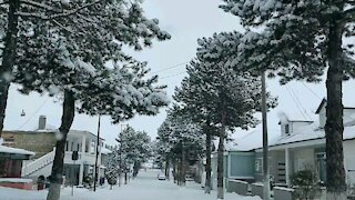 Winter drive through Erseka Albania