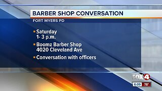Have a conversation with an officer while getting a hair cut in Fort Myers