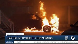 Firefighters douse City Heights car fire