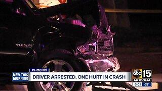 Driver arrested, one hurt in crash