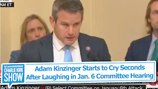 Adam Kinzinger Starts to Cry Seconds After Laughing in Jan. 6 Committee Hearing