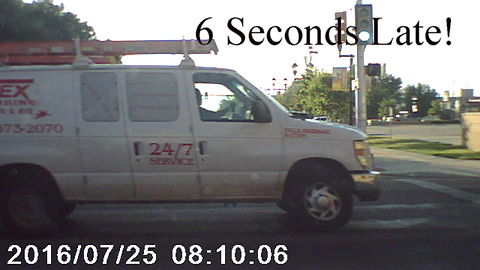 Red Light Close Call (6 seconds late)