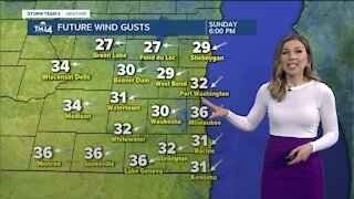 Cooler temperatures and gusty winds Sunday