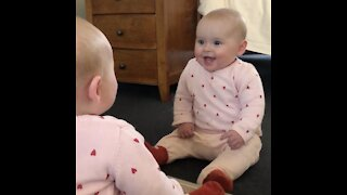 """Baby meets her """"identical twin"""" for the first time in isolation"""