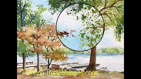 Painting Trees in Watercolors - Easy and Fast to paint a landscape using this technique.
