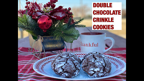 FUDGY and CHEWY DOUBLE CHOCOLATE CRINKLE COOKIES | HOLIDAY COOKIES