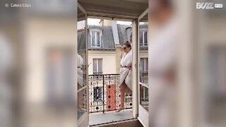 Fashion show on balcony presents best quarantine looks!